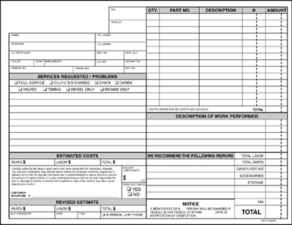 Picture of SHOP REPAIR FORMS