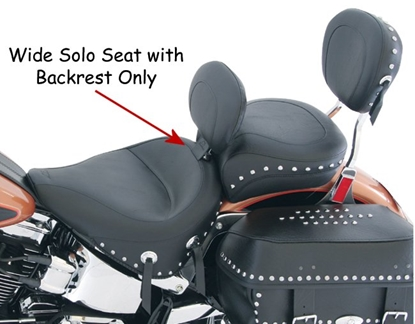 Picture of WIDE SOLO SEAT WITH DRIVER BACKREST (SOLD SEPARATE) & REAR SEAT (SOLD SEPARATE)  FOR SOFTAIL