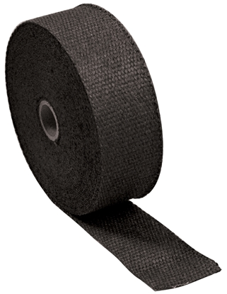"""Picture of INSULATING EXHAUST WRAP, BLACK USE ON ANY EXHAUST HEAD PIPE 2"""" WIDE 50' LONG ROLL CPP"""
